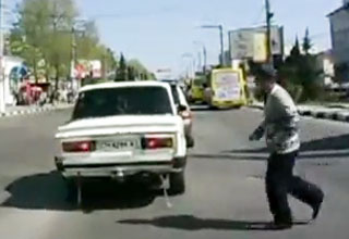 road [Video] Man Tries To Cross The Road But Is Struck By A Car Funny Picture
