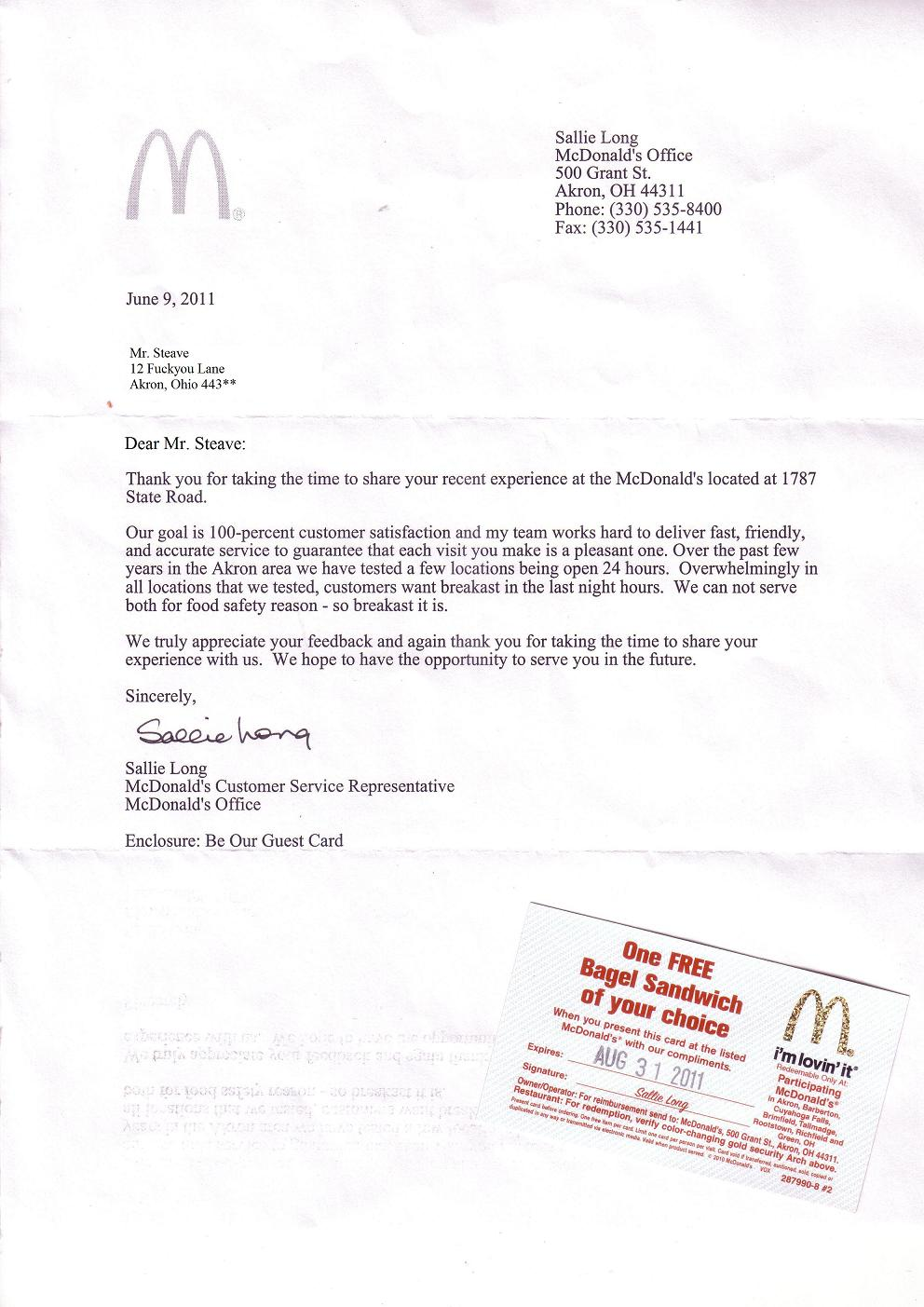 Write A Complaint Letter To Mcdonalds