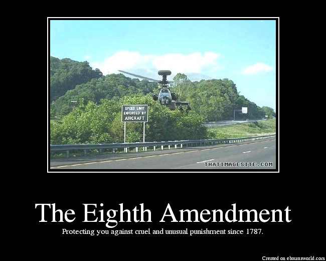 the 8th amendment The 8th amendment is perhaps less important in terms of rights than other amendments in the bill of rights it does, however, work to protect us from potential tyranny by the government one .