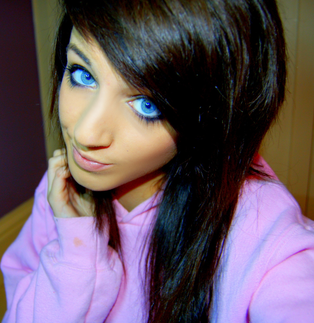 Scene girl with beautiful blue eyes